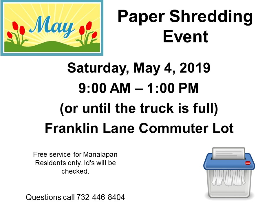May Paper Shredding | Manalapan Township