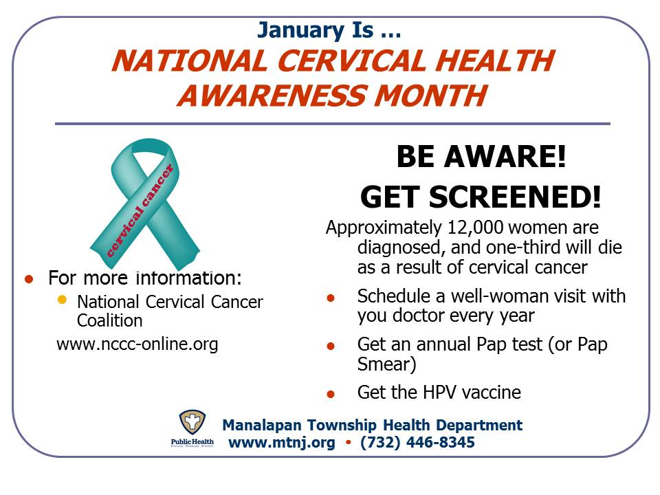 Monthly Calendar Health Awareness : The month of january manalapan township